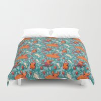 dumbo Duvet Covers featuring Dumbo Octopi & Squid - Blue by Amy Jeanne WPG