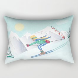 Skiing Girl Rectangular Pillow
