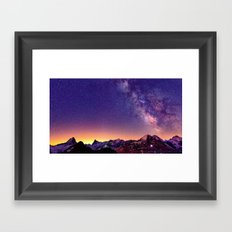 Sunset Mountain #stars Framed Art Print