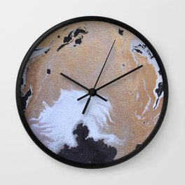 Abstract black and white painting with gold Wall Clock