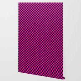 Large Hot Neon Pink and Black Racing Car Check Wallpaper