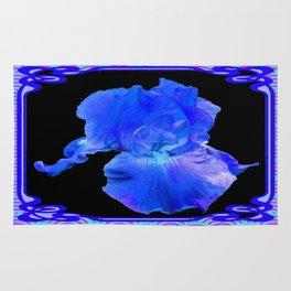 Blue-Lavender Iris Art Nouveau Pattern Art Rug