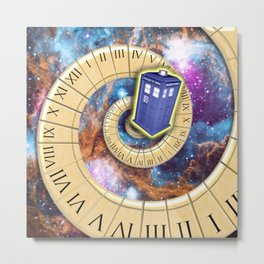 Timey Wimey Flying Phone Box Metal Print