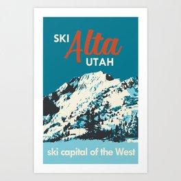 Ski Alta Utah Vintage Ski Poster Art Print