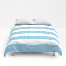 Cornflower - solid color - white stripes pattern Comforters