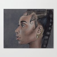 fka twigs Canvas Prints featuring FKA Twigs by annelise johnson