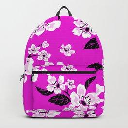 Light Purple & White Sakura Cherry Tree Flower Blooms on Dark Fuchsia Purple Hawaiian Floral Pattern Backpack