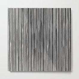 Skinny Stroke Vertical Off White on Black Metal Print