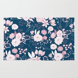Elegant mauve pink white navy blue rustic floral Rug