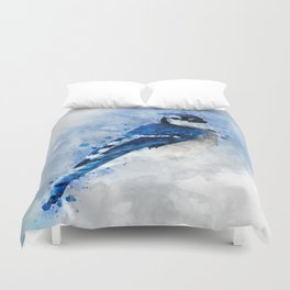 Watercolour blue jay bird Duvet Cover