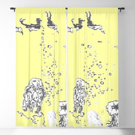 Two Tailed Duck and Jellyfish Baby Yellow Blackout Curtain