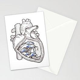 Ocean heart | Retro waves Stationery Cards