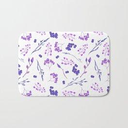Violet lilac hand painted watercolor berries floral Bath Mat