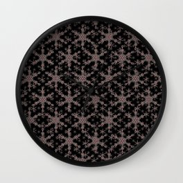 Snow flake of Ruby and Gold Wall Clock