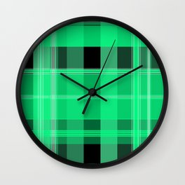 Shades of Green and Black Plaid Wall Clock