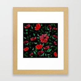Roses on Black Background /// Red Green Black Palette Framed Art Print