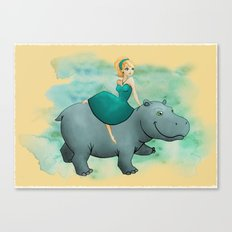 Lovely Hippo Canvas Print
