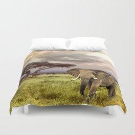 Elephant Landscape Collage Duvet Cover
