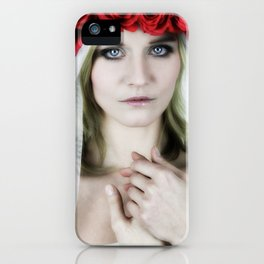 woman with a rose crown iPhone Case