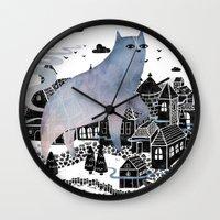 fog Wall Clocks featuring The Fog by littleclyde