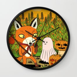 The Fox and the Pumpkin Wall Clock