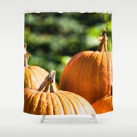 vegetable Shower Curtains featuring  autumn vegetable by Karl-Heinz Lüpke