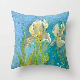 Yellow Irises Throw Pillow