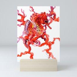 Seahorse red sea world art, corals, Coral red Scarlet Artwork Mini Art Print