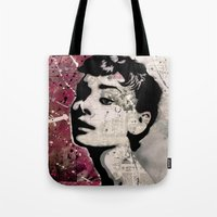 audrey Tote Bags featuring Audrey by f_e_l_i_x_x
