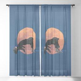 weightless, moon, flying Sheer Curtain