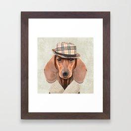 The stylish Mr Dachshund Framed Art Print