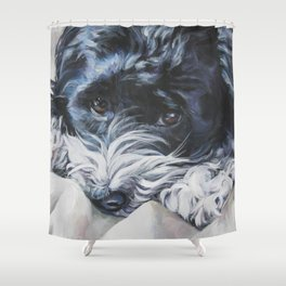 Havanese Dog Art Portrait from an original painting by L.A.Shepard Shower Curtain
