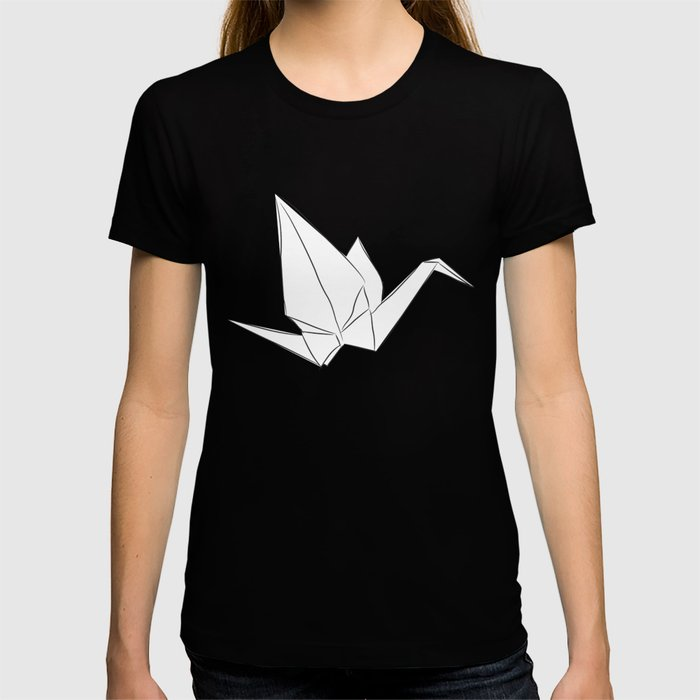 Japanese Origami white paper cranes sketch, symbol of happiness, luck and longevity T-shirt