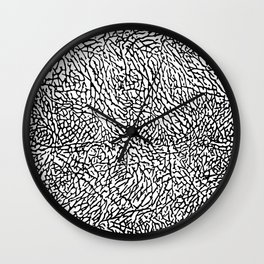 Elephant Print Texture - White and Black Wall Clock