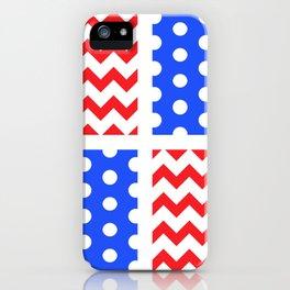 American Flag Chevron/Polkadot Pattern #ArtofGaneneK #Red #White #Blue iPhone Case