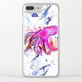 Purple Octopus Clear iPhone Case