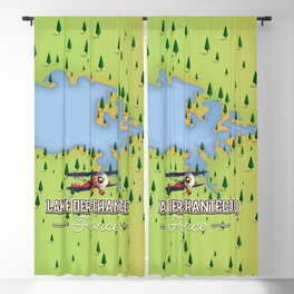 Lake Der-Chantecoq, france vintage poster. Blackout Curtain