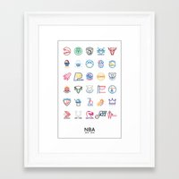 nba Framed Art Prints featuring NBA Teams logos by Will Wild