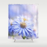 biology Shower Curtains featuring Blue Aster in LOVE  by UtArt