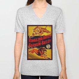 Vintage Circus Poster - Tiger & Lion Unisex V-Neck