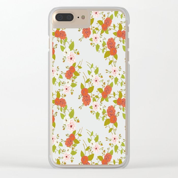 Climbing Roses, Crimson, Green, Pink and Grey Clear iPhone Case