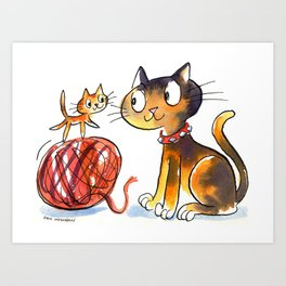 Kitten & Cat Art Print