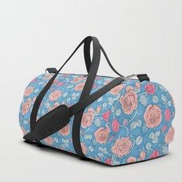 Roses Blue Pink Duffle Bag