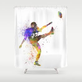 american football player man kicker kicking silhouette Shower Curtain