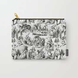 Alice in Wonderland | Toile de Jouy Pattern | Black and White | Vintage Pattern | Victorian Gothic | Carry-All Pouch