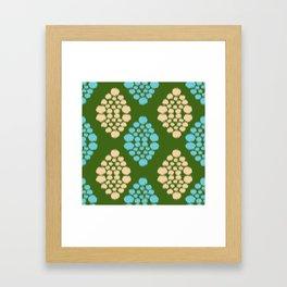 green ikat Framed Art Print