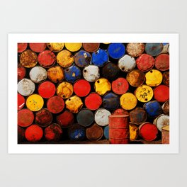Gasoline Rusty Tin Cans Pattern Art Print