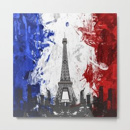 Eiffel Tower Painting Abstract Metal Print