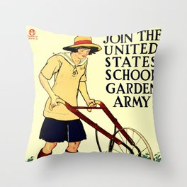 Join the US School Garden Army Throw Pillow