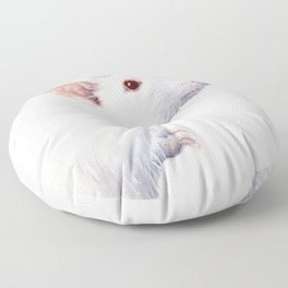 White Rat Watercolor Albino Rat Animal Floor Pillow